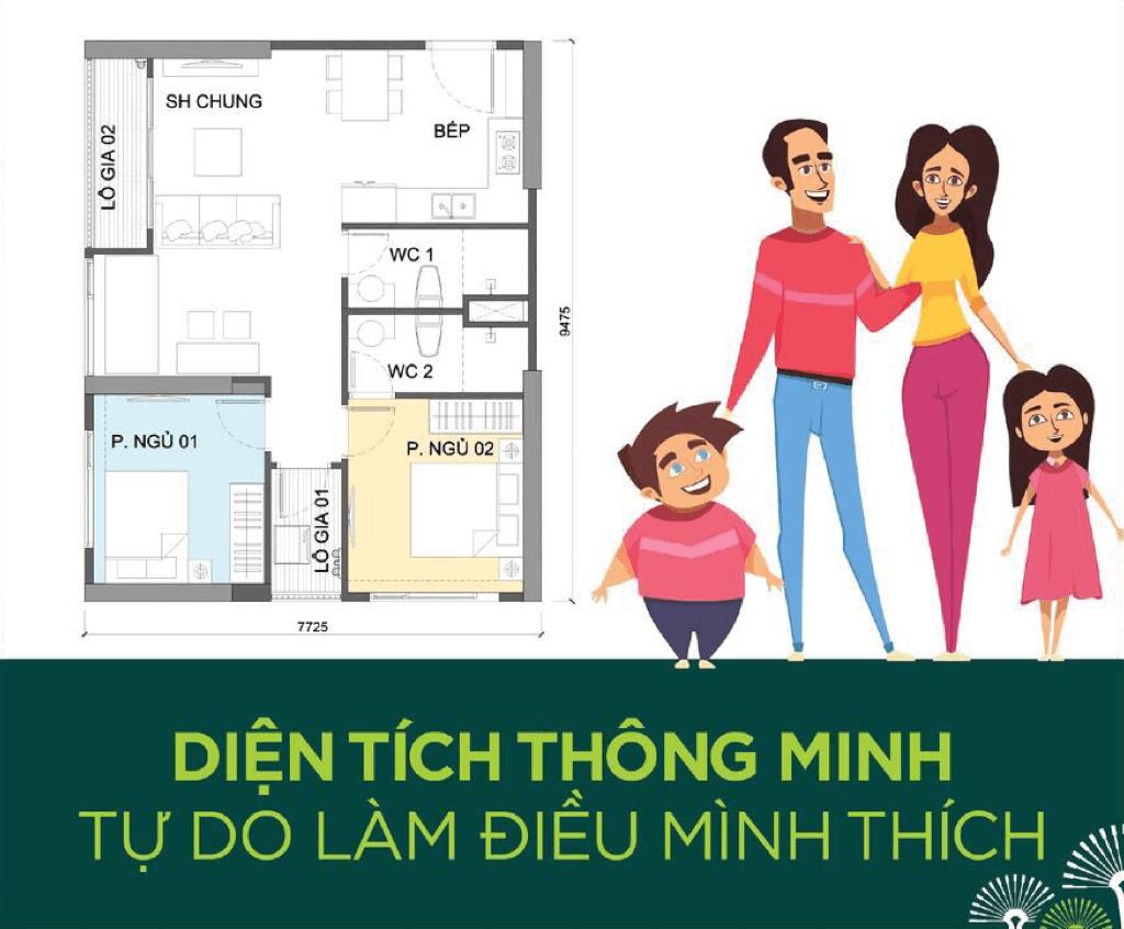 Thiết kế căn hộ Vincty 2 PN