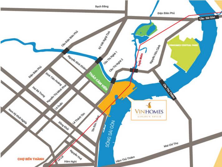 Vị trí căn hộ Vinhomes Golden River 2 Phòng Ngủ